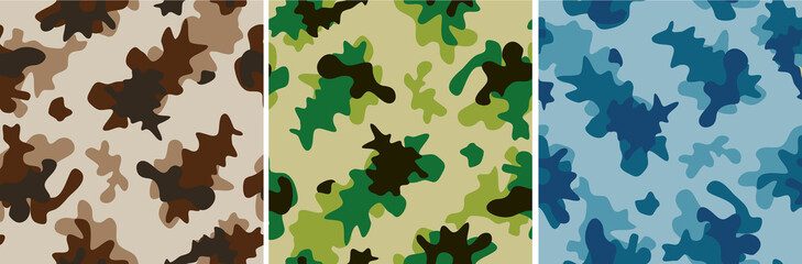 camouflage seamless vector abstract background set