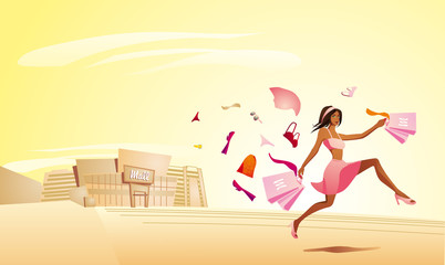Pretty shopping woman running out of the mall