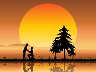 Lovers Proposal Beneath a Romantic Sunset