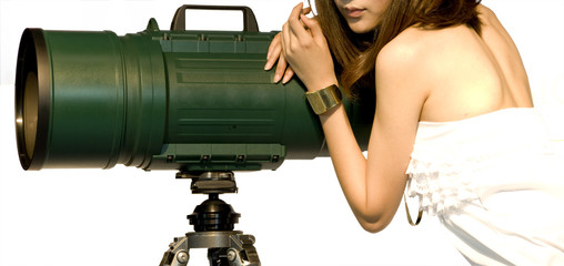 Woman and large lens