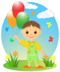 Happy little boy with balloons.