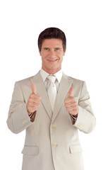 Businessman with two thumbs up