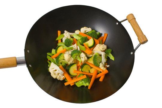 Fresh vegetables in wok