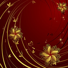Vector background with gold flowers