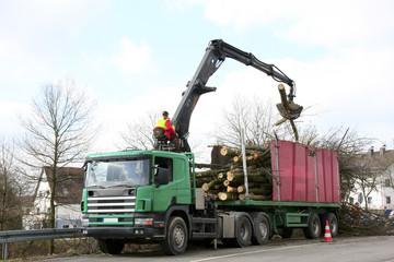 LKW bei der Holzverladung