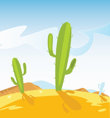Aluminium Prints Wild West Old western desert with Cactus Plants. Vector Illustration.