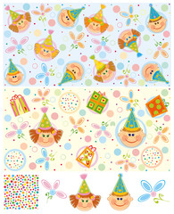 Baby patterns and elements for design.