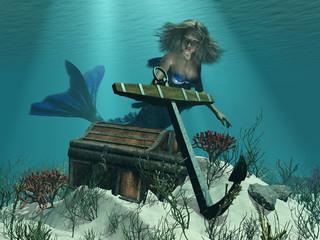 Photo sur Aluminium Mermaid A Mermaid's Discovery - 3D render