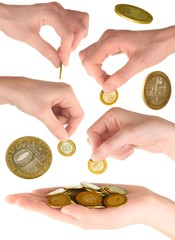 Set of hand with coins