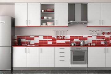 interior design of modern red kitchen