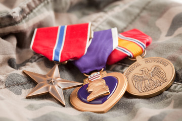 Bronze, Purple Heart and National Defense Medals