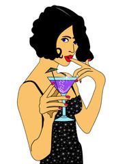 Frau mit Cocktailglas