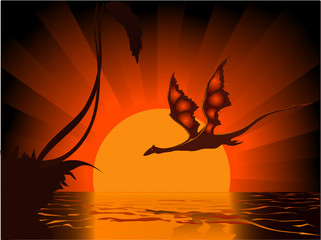 Dragon on sundown