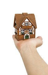 Miniature model of a house on a hand