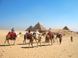People rading by camel near the Egyption pyramids