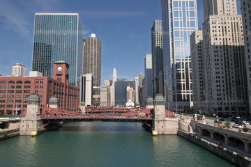Canal et buildings,CHICAGO_USA