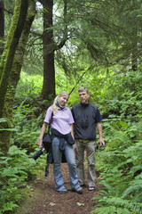 Printed roller blinds Khaki Father and Daughter walking through an old-growth Rainforest