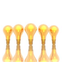 golden lightbulbs isolated on a white