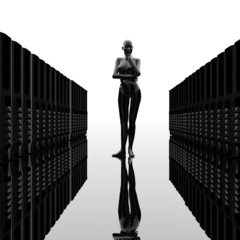 computer servers in a row with cyber girl