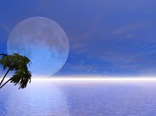Blue 3d moon
