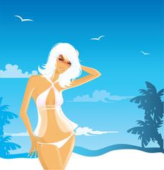 Elegant summer girl, vector