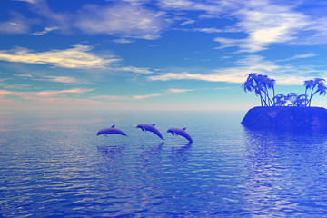 tropic scene with dolphins