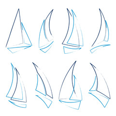 set of sailboat icons, vector illustration