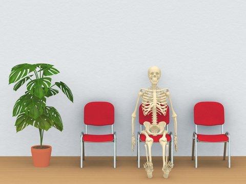 skeleton in a waiting room