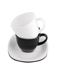 Black and white cups isolated on white