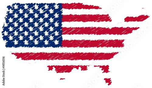 Carte de l 39 am rique avec drapeau gribouill fichier vectoriel libre de droits sur la banque d - Drapeau de l amerique ...