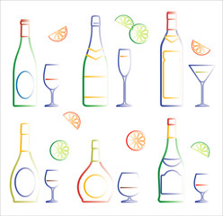 Bottles of wine and cocktails (Vector)