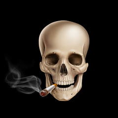 Human skull smoking on black background