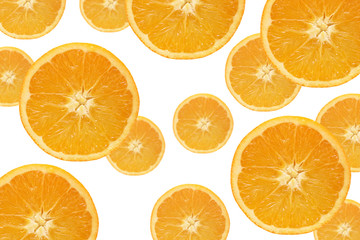 Aluminium Prints Slices of fruit Fallende Orangenscheiben