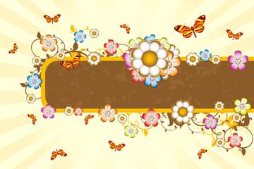 Brown floral banner