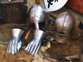 helmet and iron gloves