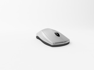 Silver computer mouse isolated on white