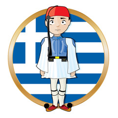 Greek Evzone with Flag