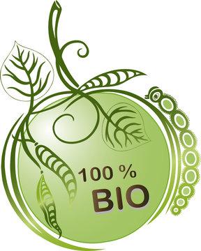 Bio Button, grüner Apfel mit Raupe