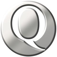 3D Steel Letter Q