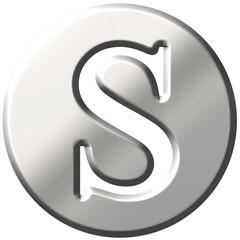 3D Steel Letter S