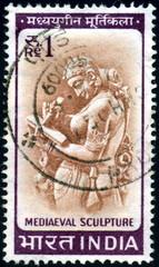 India. Mediaeval sculpture. Timbre postal oblitéré.
