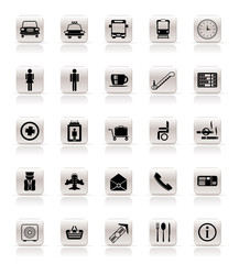 Airport, travel and transportation vector icon set