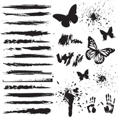 Papiers peints Papillons dans Grunge set of grunge elements
