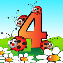 Numbers serie for kids -  04 Ladybirds