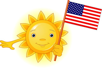 Summer Sun with American flag