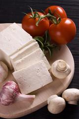 Slices of fresh feta cheese