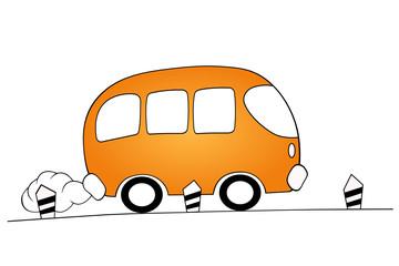 orange cartoon bus