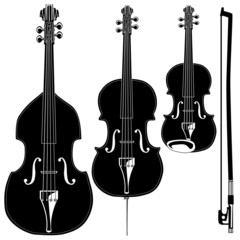 Stringed instruments in detailed vector silhouette.