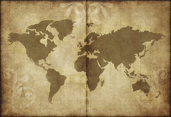 old world map parchment paper