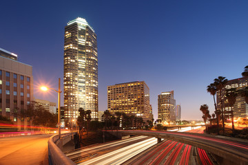 Fototapete - Downtown Los Angeles night view